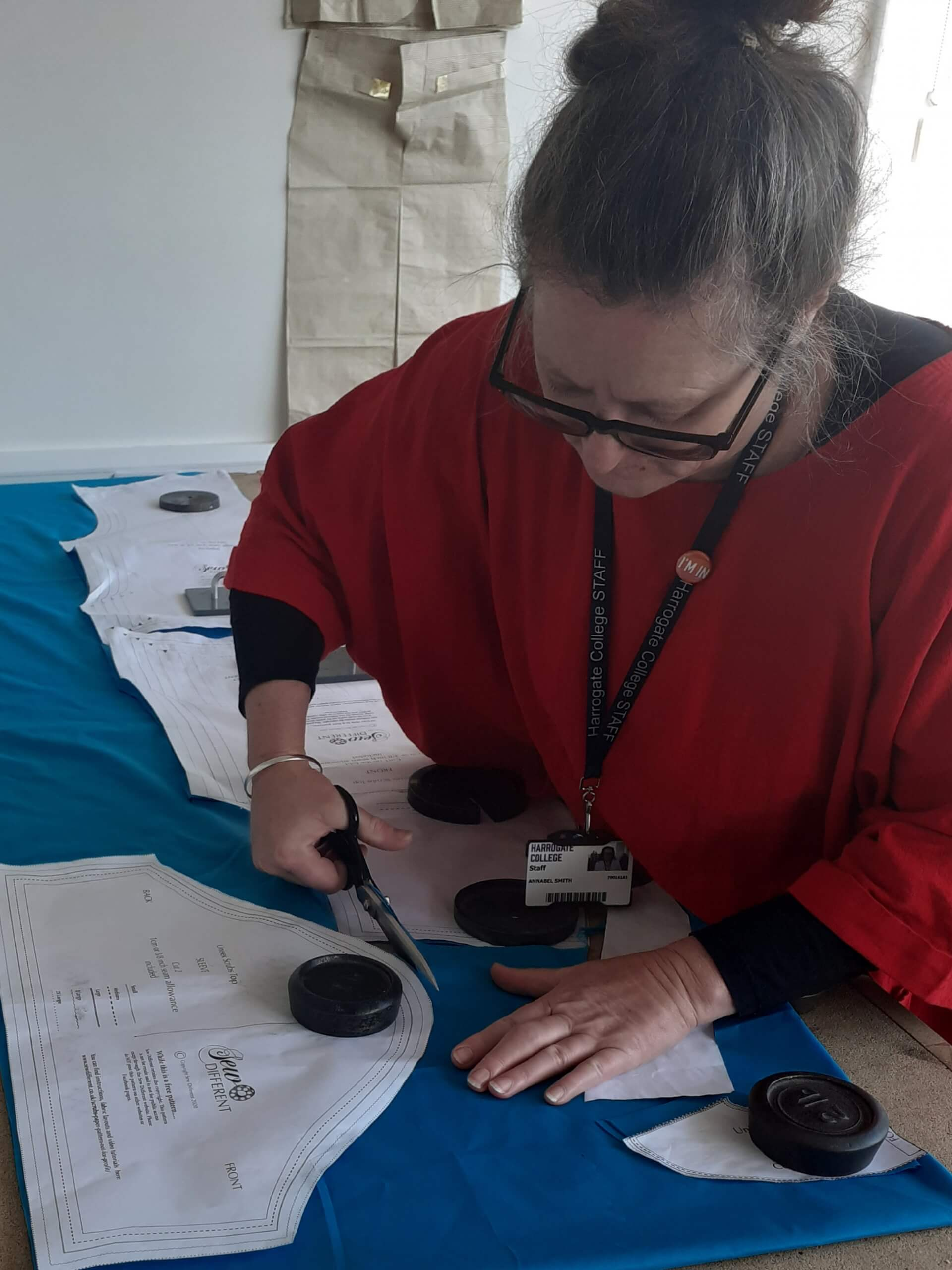 Annabel Smith making scrubs for Harrogate Scrubbers